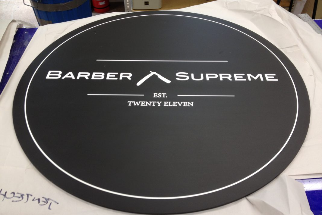 Black anodised Engraved Barber Sign