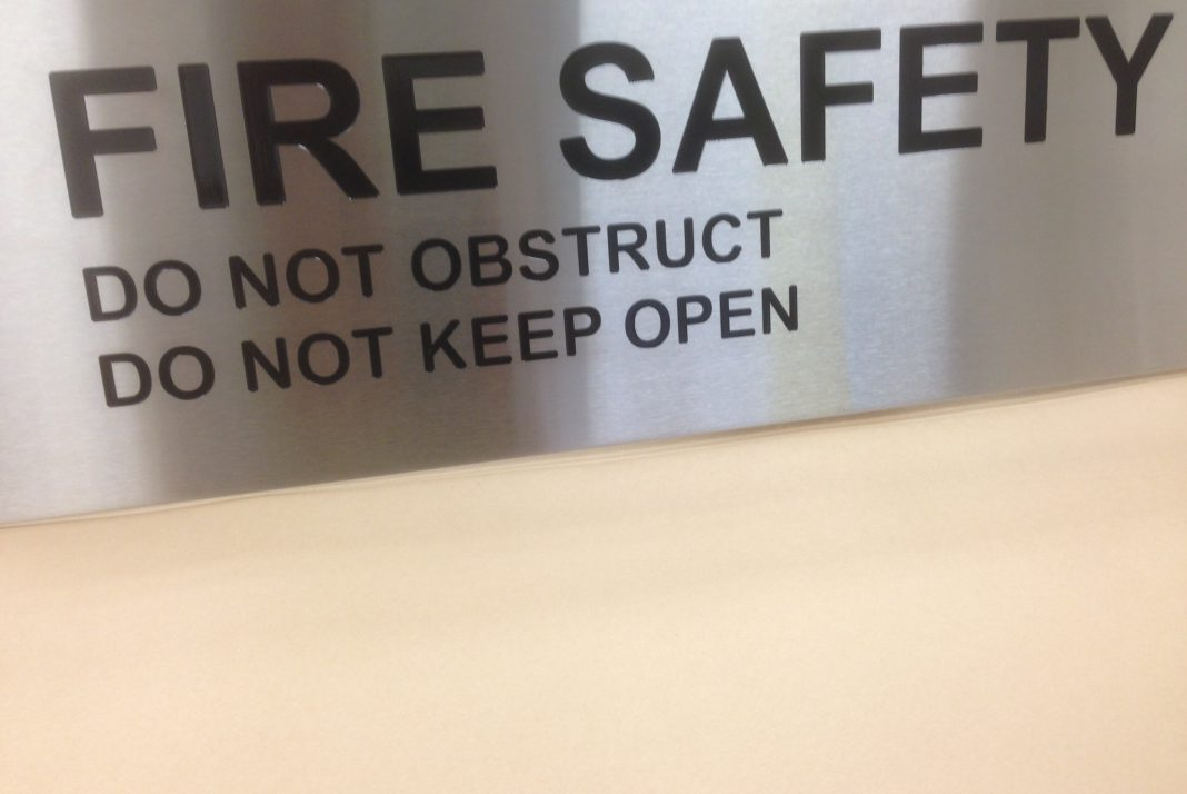 Engraved Stainless Fire Door Sign