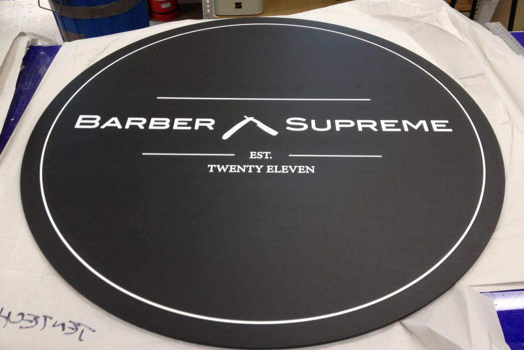 Black anodised Engraved Barber Sign